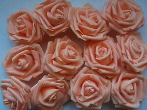 16 Edle Grosse Foam Rosen Rosenbluten Lachs Apricot Deko