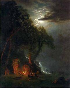 Excellent Oil painting Albert Bierstadt - Campfire Site ... Campfire Painting