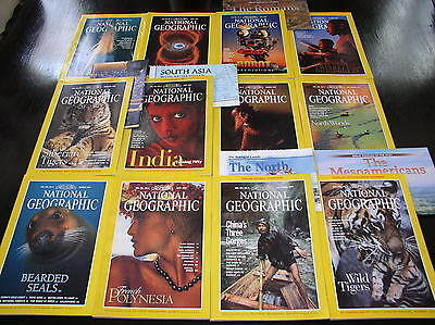 12 NATIONAL GEOGRAPHIC MAGAZINE COMPLETE SET 1997 ~ INCLUDES ALL SUPPLEMENTS