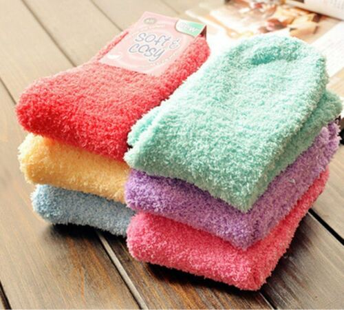 Women/'s Colorful Soft /& Cozy Warm Microfiber Fuzzy Indoor or Winter Crew Socks