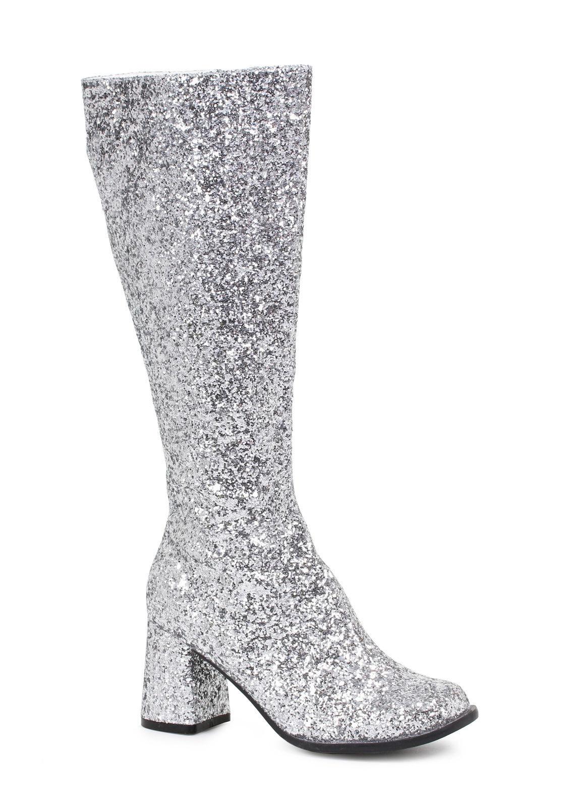 Ellie 3  paillettes argent gogo danseuse femme costume Talons chaussures bottes Gogo-G-SLVG