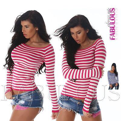 Sexy Women's Striped Jumper Top Sweater Winter Wear Stripes Size 6 8 10 XS S M