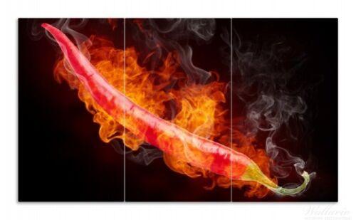 brennende 90x52cm Wallario Herdabdeckplatte 3-teilig aus Glas Heiße