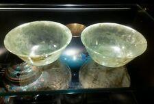 ANTIQUE MATCHED SET of  Hand Carved Eggshell Motted Jade Bowls