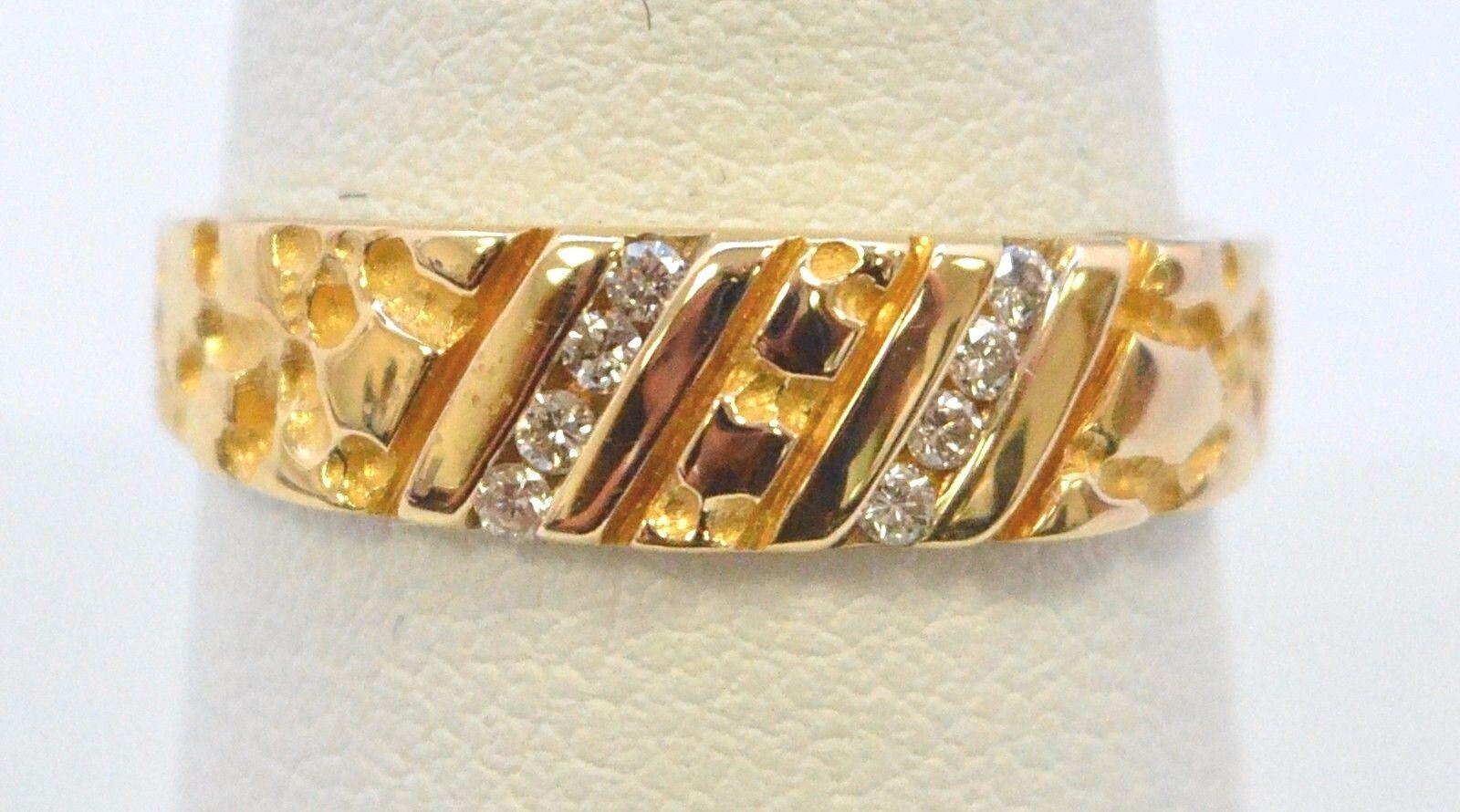 3163-14K YELLOW gold 8 DIAMOND MENS RING  4.40 GRAMS SIZE 9