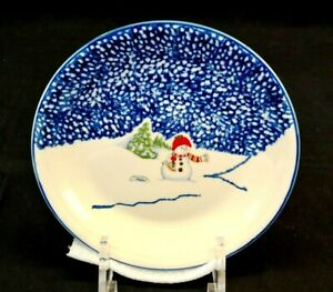 THOMSON-POTTERY-Snowman-China-Salad-Plate-Excellent-Condition