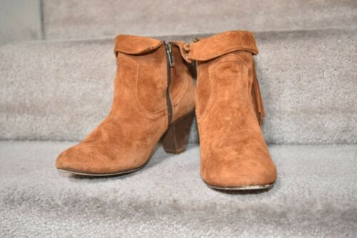 bb8c7f4582414 STEVE MADDEN ANKLE boots fringe womens booties brown suede leather Sz 8 $149