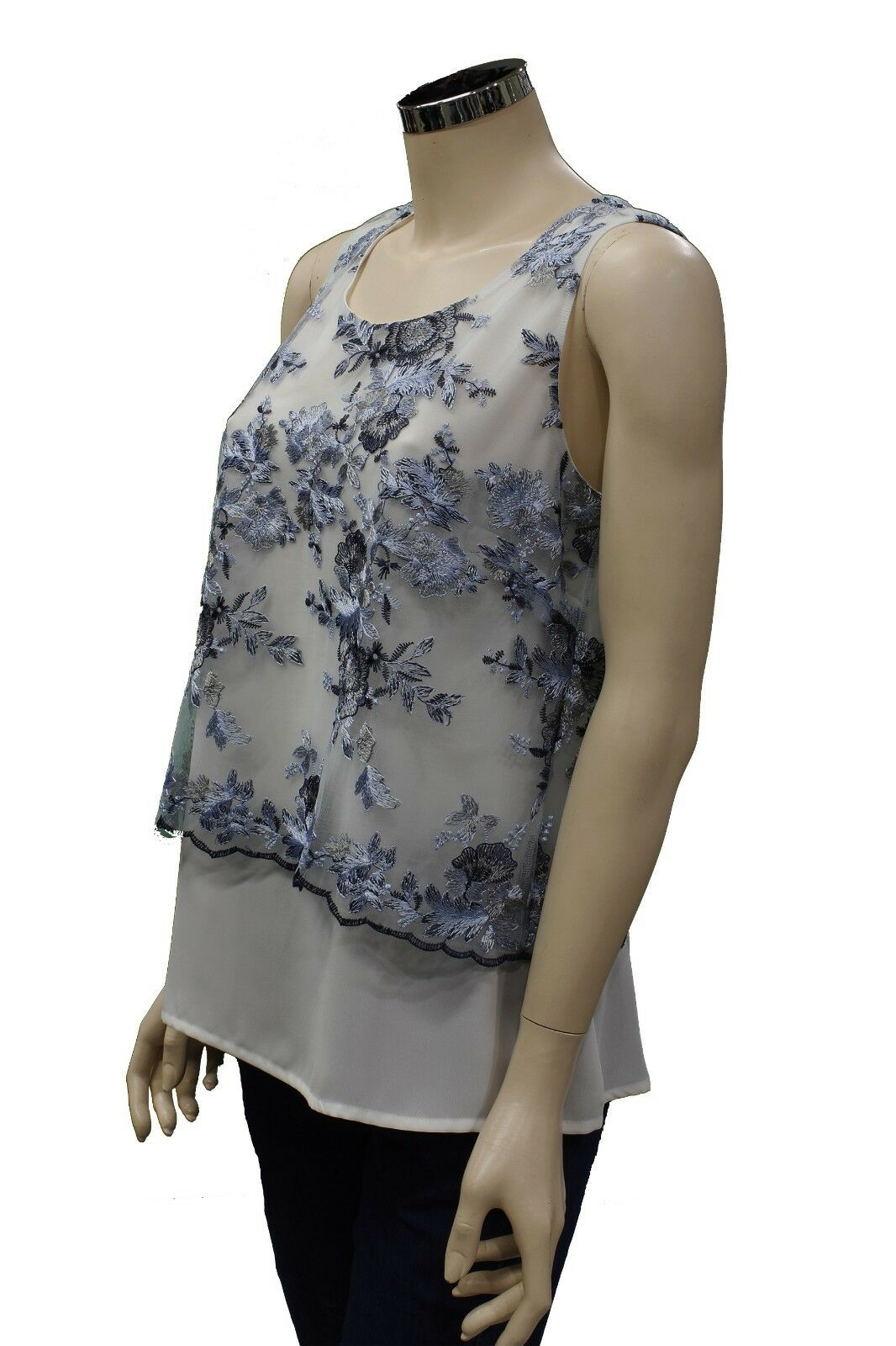 T-Shirt da donna in pizzo bianca Forza9 Forza9 Forza9 Fedora smanicata girocollo casual moda ab7092
