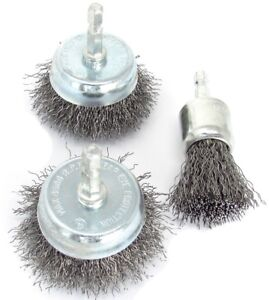 3pc Wire Brush Drill Attachments Set Wheel Cups End Brush Deburr Rust Removal Ebay