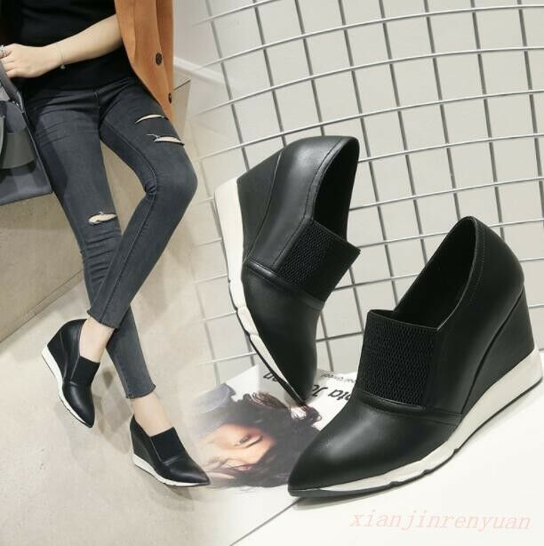Women High Wedge Heel Slip On Ankle Boots Young Girl Pointy Toe Casual Shoes New