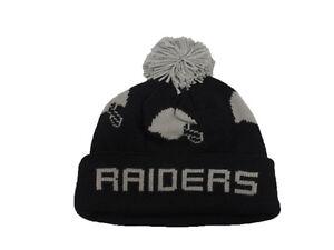 08c18b1122584 Oakland Raiders Beanie Mitchell   Ness NFL Round Trip Cuffed Pom ...