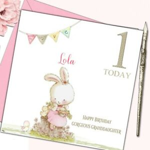 Details about Personalised Birthday Card First 1st 2nd w poem Baby Girl  GrandDaughter Niece