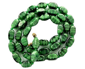 Vintage-Green-Agate-Marbled-Glass-Barrel-Bead-Necklace-25-Long-GIFT-BOXED