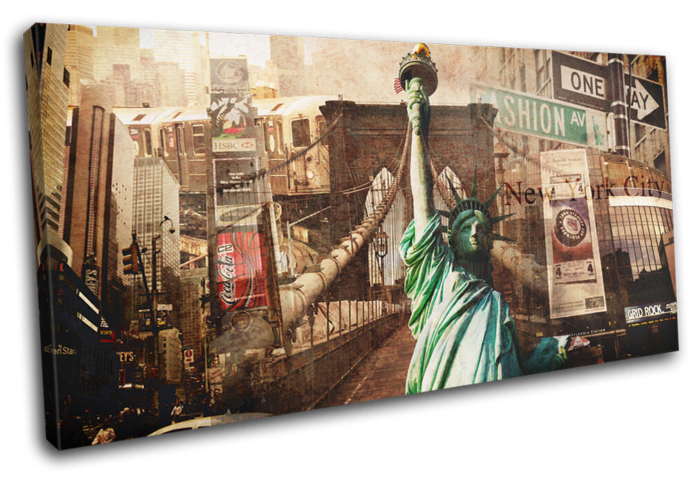 New York Vintage Collage  City SINGLE TOILE murale ART Photo Print