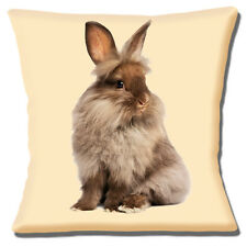 "Brown Pet Bunny Rabbit Long Hair Photo Print on Cream 16"" Pillow Cushion Cover"