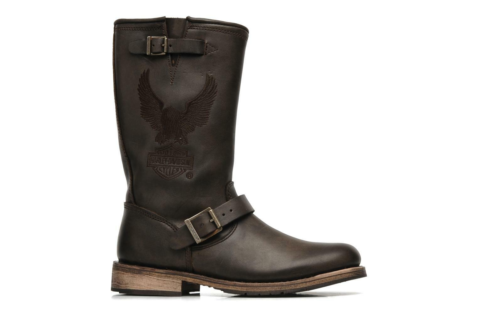 Harley Davidson Clint Mens Brown Eagle Leather Condctor Biker Zip Boots Original
