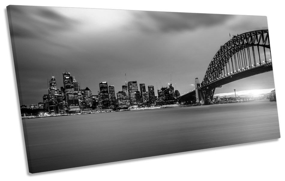 Sunset Sydney Harbour Skyline B&W CANVAS ART Print Panoramic Picture