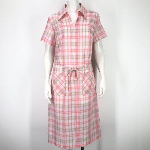 Vintage Plaid Shift Dress Womens 14 Pink White Hal