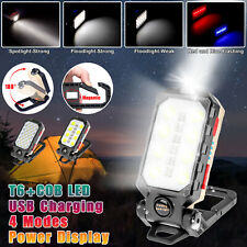 Magnetic Cob Led Work Light Camping Lamp Torch Flashlight Usb Rechargeable Hook