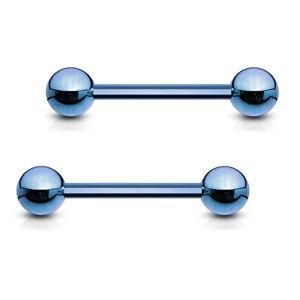Pair 14g 3 4 Blue Titanium Barbell Nipple Barbells Tongue Rings Ebay