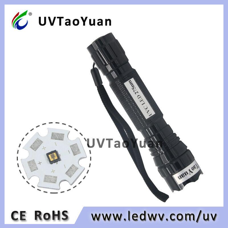 18mW UV Torch Ultra purple Rechargeable UVC LED 275nm Flashlight DUV Torch Light