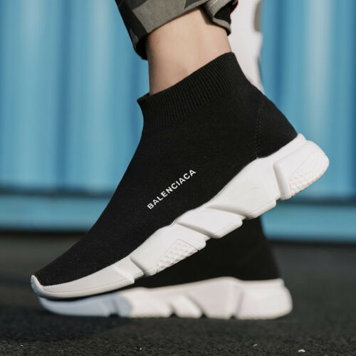 Casual Shoes Mens Stretch Knitted Sock Chunky Sneakers Trainer Speed Ankle Boots