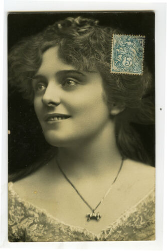 c 1907 Pretty Young Lady SMILING LADY photo postcard