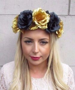 Large Black Gold Rose Flower Garland Headband Hair Crown Sugar Skull ... 9d043cb115c