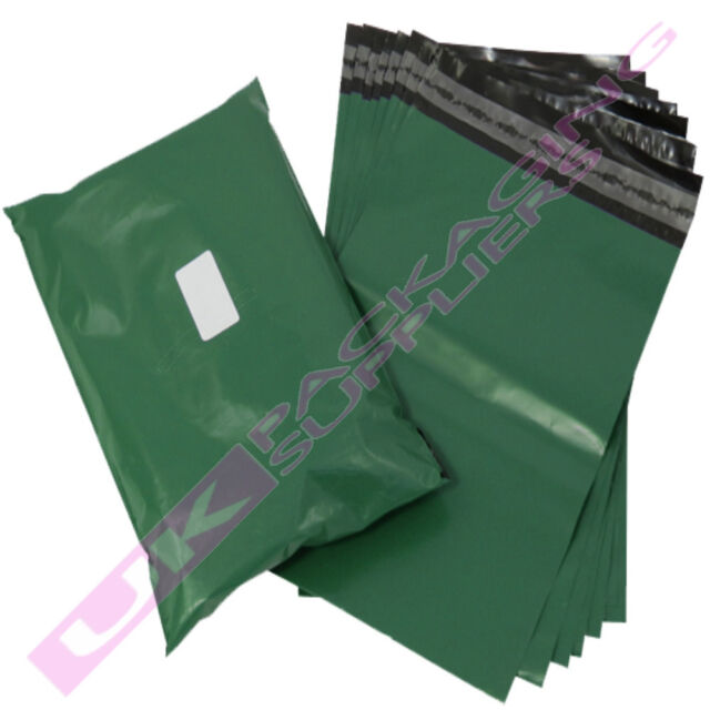 "50 x LARGE 16x20"" OLIVE GREEN PLASTIC MAILING PACKAGING BAGS 60mu PEEL+ SEAL"