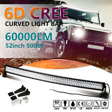 6D 52INCH 500W CREE LED Work Light Bar Flood Spot Combo Curved Fit for Jeep GMC