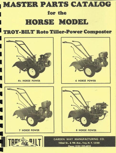 Troy Bilt Horse Tiller Parts Manual 1980 Ebay