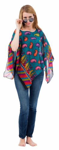 One Size for XS-XL Style#PN-02 Chiffon Casual Poncho in Variety of Prints