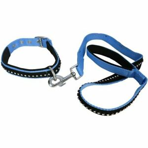 SOFT DIAMANTE PADDED REFLECTIVE DOG CAT PUPPY PET HARNESS HEADCOLLAR COLLAR LEAD