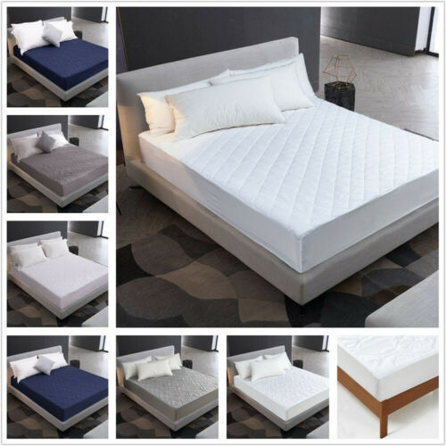 100/% Waterproof Quilted Mattress Cover Breathable Fitted Skirt-Hypoallergenic