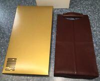 Genuine Gumps Leather Signature Two Bottle Wine Case Carrier Bordeaux W Box