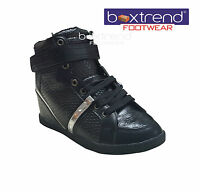 NEW WOMENS HIDDEN WEDGE BOOTS LADIES HIGH ANKLE SHOES GIRLS HI TOPS TRAINERS 3-8
