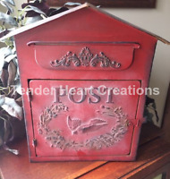 Vintage Look Antique Red Metal Birdhouse Mailbox Embossed Shabby Chic Primitive