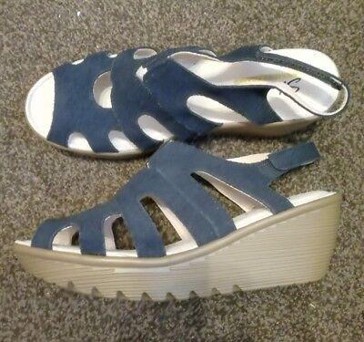 Skechers Cali Parallel Wedge Sandal With Memory Foam In navy blue Size UK 6.5   eBay