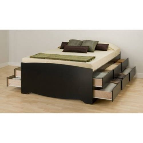 PLATFORM STORAGE BED Queen Size 12 Drawers Wood Modern Bedroom Furniture Black