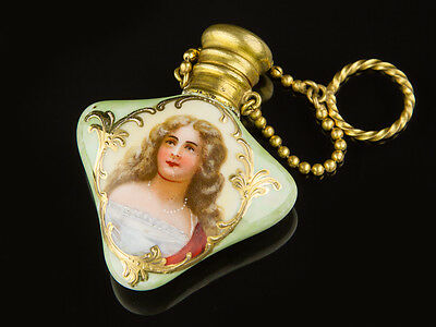 c1900 Hand Painted and Gilded China Chatelaine Scent Bottle
