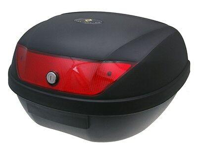 Top Case Koffer schwarz 51L Motorrad Moped Reflektor wei/ß mit Universalhalterung f/ür Roller
