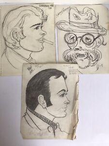 1970s Original Art Pencil Sketch Portrait Lot European Tour Nice! 1 Day Ship👍