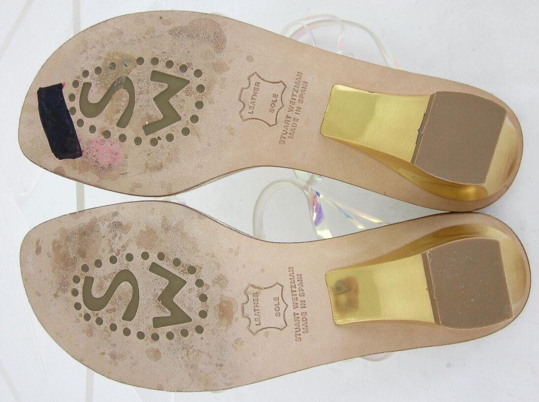 Stuart Weitzman Iridescent Iridescent Weitzman Crisscross Sandales Gold Heels Sz 6.5M a265f4