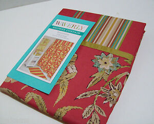 Waverly-Honeymoon-Stripes-Floral-Red-Multi-Colors-Fabric-Bath-Shower-Curtain-New