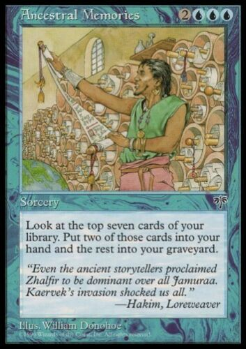 MTG 4x Ancestral Memories-Mirage Rare Draw cards *