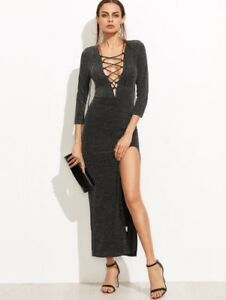 746c25be0bc Black Deep V Lace Up Neck High Split Sparkle Maxi Dress in XS