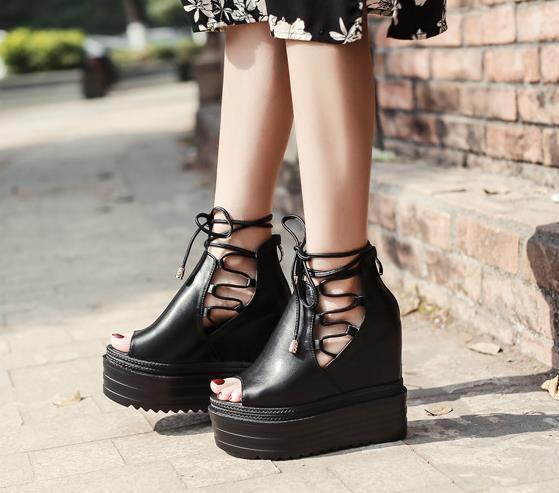 Women Roman Hidden Wedge Heels Platform Lace Up Sandals Open Toe Creepers Shoes