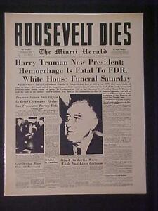 VINTAGE NEWSPAPER HEADLINE ~WORLD WAR 2 TRUMAN PRESIDENT FDR ROOSEVELT DIES WWII
