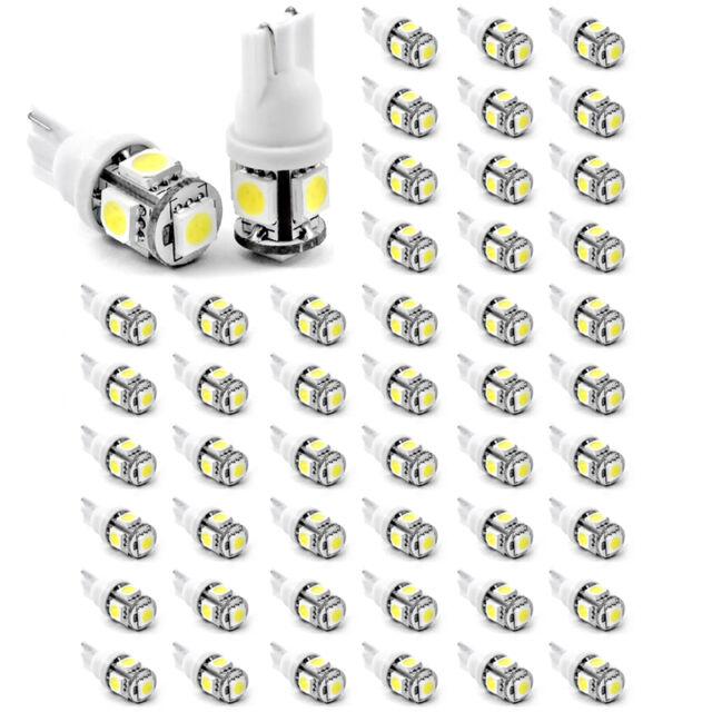 50Pcs T10 194 168 2825 5 x 5050 SMD LED White Super Bright Car Lights Lamp Bulb
