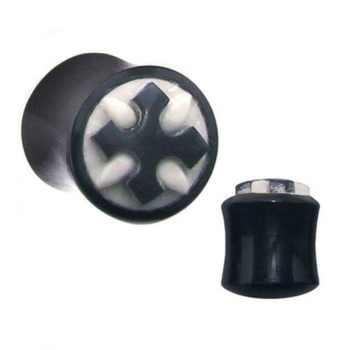 Details about  /Double Flared Horn Plug With Carved Cross And Inlay Front